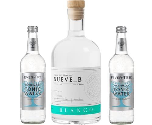 Tequila & Tonic Set - 1x Tequila Blanco Nueve B 0,7l 38% & 2x Fever-Tree Mediterranean Tonic Water 0,5l