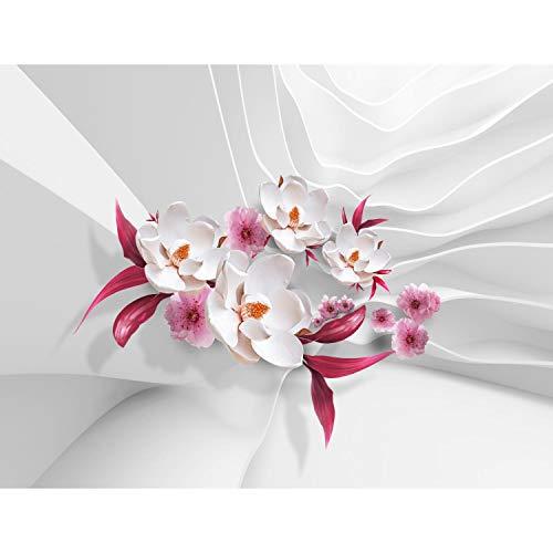 Fototapete Blumen 3D Weiß 396 x 280 cm Vlies Wand Tapete Wohnzimmer Schlafzimmer Büro Flur Dekoration Wandbilder XXL Moderne Wanddeko Flower 100% MADE IN GERMANY - Runa Tapeten 9179012b