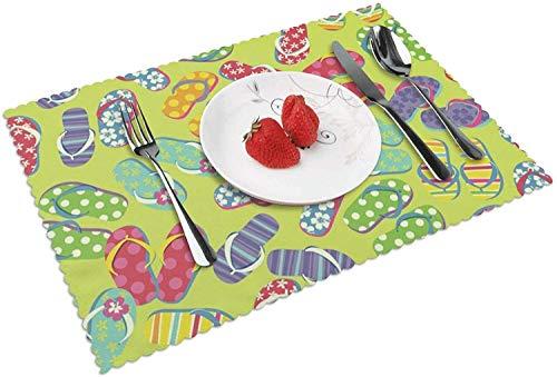 Chanclas de Color, Antideslizantes, Resistentes al Calor, Lavables, para Mesa, para Comedor de Cocina, 12 x 18 Pulgadas