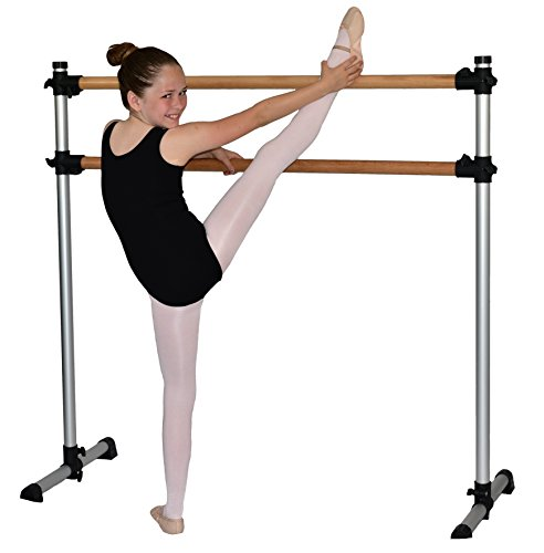 Traditional Real Wood Portable Double Freestanding 4 Foot Ballet Barre, Stretch/Dance Bar, 4 Feet Fitness Barre - 29 inch Base