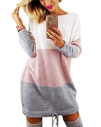 Minetom Winter Damen Pullover Sweater Strickkleid Warm Elegant Langarm Strickpullover Lang Mehrfarbig DE 42