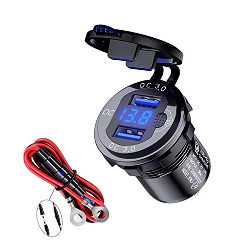 POHOVE Rápido Carga 3.0 Dual USB Cargador Enchufe con LED Voltímetro Digital E Interruptor, Impermeable Toma de Corriente Cigarett-E Mechero Repuesto para 12V/24V Coche Barco Moto Camión Carro Golf
