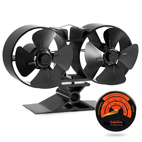 GALAFIRE [ 2 Years Wood Stove Fan 8 Blades Twin Motors Heat Powered Wood Burning Fireplace Fan with Thermometer