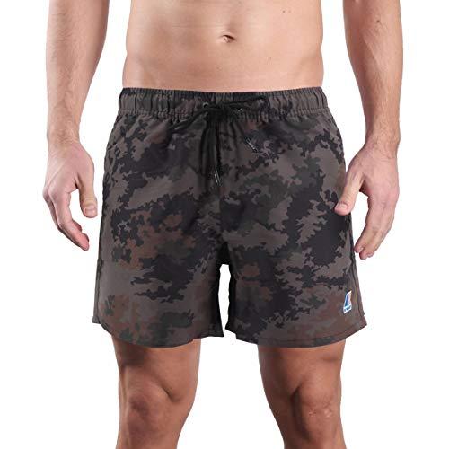 K-Way Olivier Graphic Pantaloncini, Multicolore (Dark Camouflage 909), Large (Taglia Unica: L) Uomo