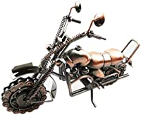動物の置物動物の彫像彫像の装飾鍛造鉄オートバイモデル金属の家の装飾