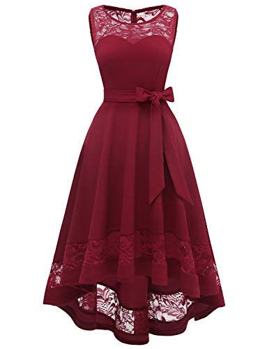 Gardenwed Damen V-Ausschnitt Kurz Brautjungfer Kleid Cocktail Party Floral Kleid Vokuhila Hi-Lo Partykleider Vokuhila Kleid aus Spitze Dunkel Rot Dark Red M