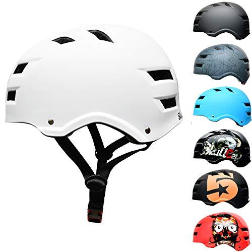 Skullcap® Skaterhelm Erwachsene Weiß White Line - Fahrradhelm Damen Herren ab 14 Jahre Größe M 55-58 cm - Scoot and Ride Helmet Adult White - Skater Helm für BMX Inliner Fahrrad Skateboard
