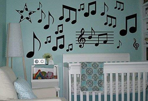 ZGNNN-EU Vinyl muur Decor Stickers Muziek Opmerkingen Muurbord Vinyl Decal Sticker Muur Letteren Liedjes Muziek Liefde Grote Grote Rest Note Slaapkamer Kwekerij Plezier Piano Gitaar Clef