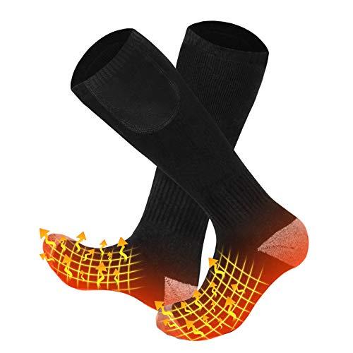 Babutenlo Calcetines Calientes con Batería Recargable Calcetines Térmicos Gruesos a Prueba de Viento Calentador de Pies para Esquí Senderismo Pesca Cámping 2 Baterías Incluidas (Negro, S)