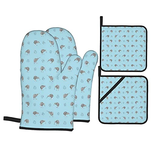 GKGYGZL Oven Mitts and Pot Holders Sets of 4,Kiwi Birds On Blue Seamless Pattern,Polyester BBQ Gloves with Quilted Liner Resistant Hot Pads for Kitchen Cooking Baking Grilling