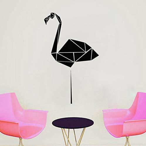 Mrlwy Geométrico Flamingo Tatuajes De Pared Polígono Animal Vinyl Sticker Origami Arte De La Pared Decoración Del Hogar Minimalista Murales 34X57 Cm