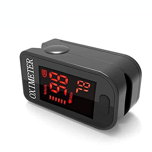 Monitor de oxígeno de dedo, oxímetro de pulso Monitor de saturación de oxígeno Spo2 para oxímetro de pulso para adultos y niños con pantalla LED con cordón (BLACK)