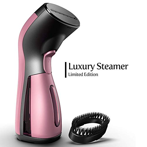 iSteam Steamer for Clothes [Luxury Edition] Powerful Dry Steam. Multi-Task: Fabric Wrinkle Remover- Clean- Refresh. Handheld Clothing Accessory. for All Kind of Garments. Home/Travel [MS208 Pink]