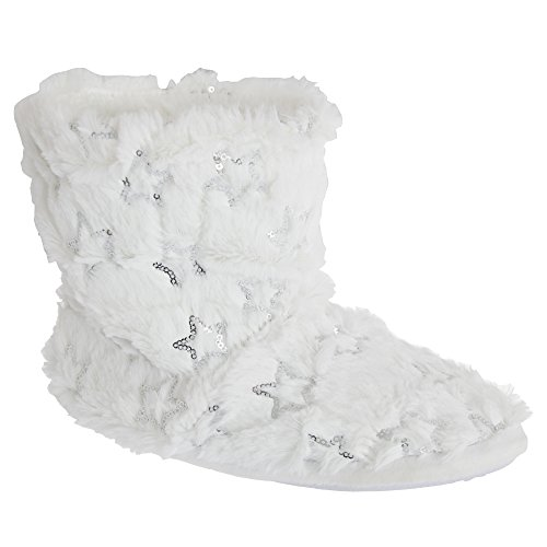 Slumberzzz flauschige Damen Hausstiefel (36/37 EU) (Weiß)