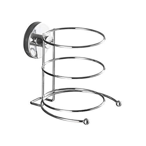WENKO Vacuum-Loc® Wand Haartrocknerhalter, Föhnhalterung fürs Badezimmer, mit Kabelhalter, Vakuum-Befestigung, aus verchromtem Metall, 11,5 x 17,5 x 14,5 cm