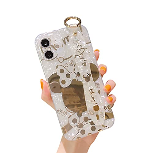 Danzel Cute Case for iPhone 11 6.1', Cartoon Minnie Mouse Sparkle Bling Cover, Wrist Strap Kickstand Soft TPU Shockproof Protective for Women Girls