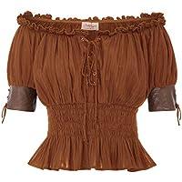 Belle Poque Mujer Camiseta Steampunk Tops Elegante Casual Retro Vintage Suave Cómodo Marrón L