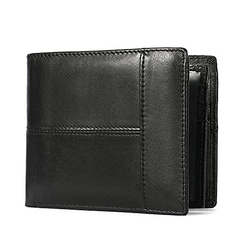 LzPoaitr Geldbörse Herren Echtem Leder Geldbörse Große Schwarze Portemonnaie Geldbeutel Männer mit RFID-Schutz (schwarz)