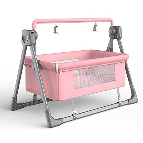 Columpio para bebé - hamaca eléctrica compacta, Silla mecedora Cama eléctrica con columpio automático para bebés, cuna mecedora para dormir para bebés pequeños, cuna para cuna, cuna segura para, Pink