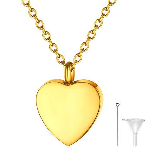 FindChic Memorial Erinnerung Anhänger Halskette Herzanhänger für Damen Mädchen für Haar/Klein Papier/Öl mit Trichter Füllen Kit Gedenk Schmuck