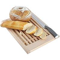 Creative Home Tabla para Cortar Pan de Madera con Recogemigas   35,5 x 28,5 x 2 cm   con Rejilla Extraíble para Migas   Madera de Haya Natural   Gran Accesorio para Cualquier Cocina