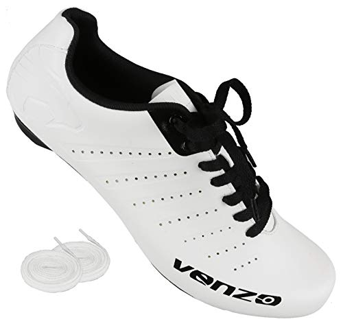 Venzo Bicycle Men's or Women's Road Cycling Riding Shoes - Lace - Compatible with Peloton Shimano SPD & Look ARC Delta - Perfect for Indoor Spin Road Racing Bikes White -42