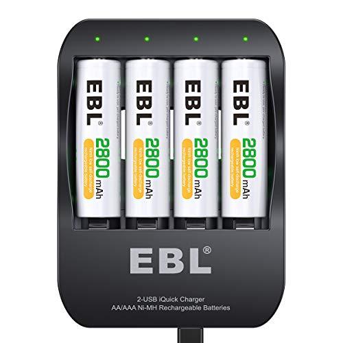 EBL Schnellladegerät mit 4X AA Akku 2800mAh- für NI-MH- AA AAA wiederaufladbare Batterien, AA Akkus mit Ladegerät