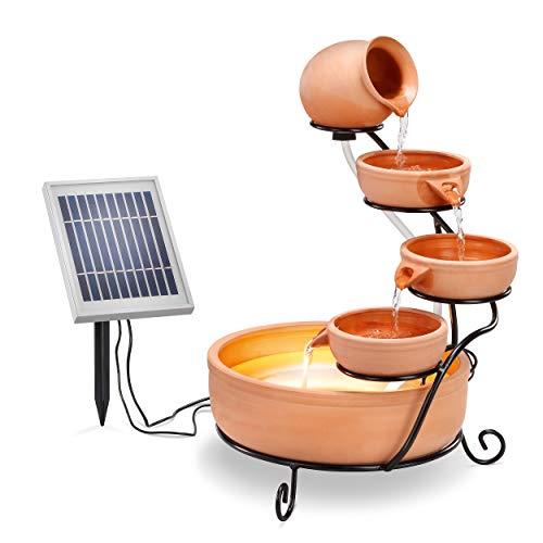 Solar Kaskadenbrunnen Terrakotta mit Akkuspeicher und LED Licht - großes 2 Watt Solarmodul - verschleißarme Pumpe - Springbrunnen Gartenbrunnen Solarbrunnen - Größe ca. 31 x 31 x 55 cm, esotec 101304