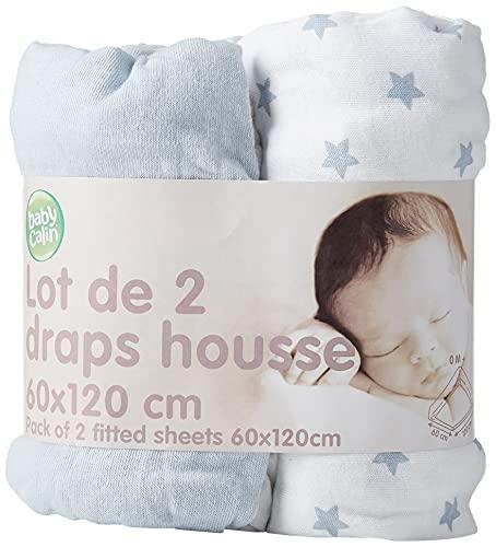 BabyCalin BBC413807 Drap Housse, 60cm x 120cm, Bleu Ciel et Étoile, Lot de 2, Bleu Ciel, 2 Pièces
