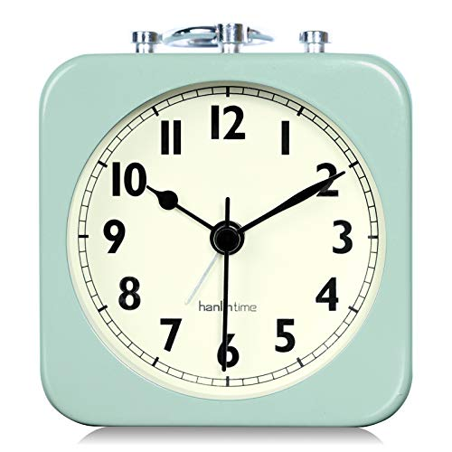 Lafocuse 8.5x8.5cm Mini Despertador Cuadrado Metal Verde Analógico Viaje Reloj de Mesa Portátil Clasico Silencioso para Mesilla Dormitorio