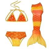 RKRCXH Cola De Sirena para Natación Traje De Baño 3pcs Mermaid Bikini Establece para Niña Disfraz De Sirena Princesa Cosplay Conjuntos Bikini niña Cola de Sirena (Color : Egg Yellow, Size : 130cm)