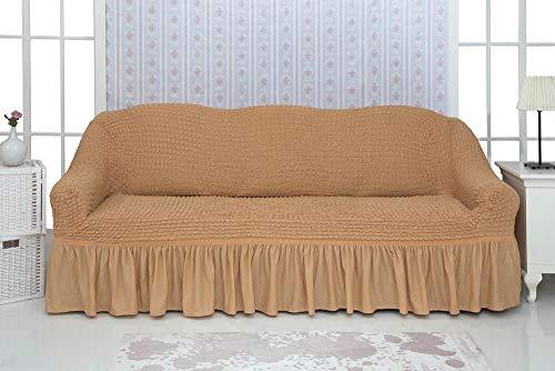 Mixibaby Sofabezug Sofahusse Sesselbezug Sitzbezug Sesselüberwurf Stretchhusse Sofahusse, Farbe:hellhoney