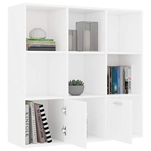Lasamot Librería Interior Moderna y práctica, Librería de aglomerado Blanco de 98x30x98 cm con 7 Compartimentos y 2 Puertas