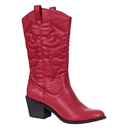 Charles Albert Women's Embroidered Modern Western Cowboy Boot red Size: 5 UK