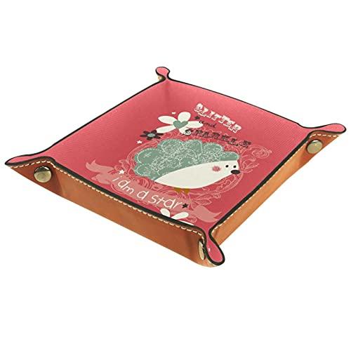 Leder Valet Tray Mehrzweck Aufbewahrungsbox Tray Organizer Zur Aufbewahrung von kleinem Zubehör,Heckenschwein Blumen Ich bin ein Stern
