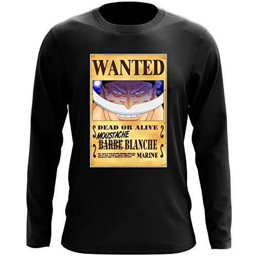 T-Shirt à Manches Longues Noir One Piece parodique Edward Newgate - Barbe Blanche : Le Wanted Secret. : (Parodie One Piece)