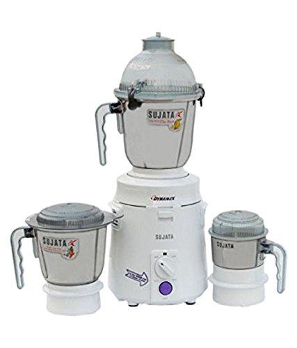 Sujata Dynamix DX 900-Watt Mixer Grinder with 3 Jars (White)