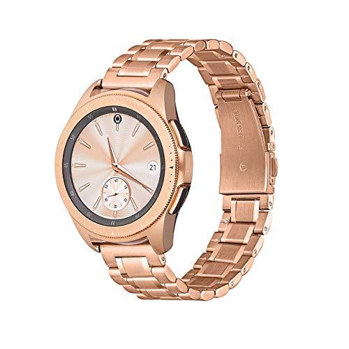 Compatible con reloj Samsung Galaxy de 46 mm, correa Samsung Watch 3 45 mm/S3 Classic/Gear S3 Frontier/pulsera de repuesto de metal de acero inoxidable de 22 mm (22 mm, oro rosa).