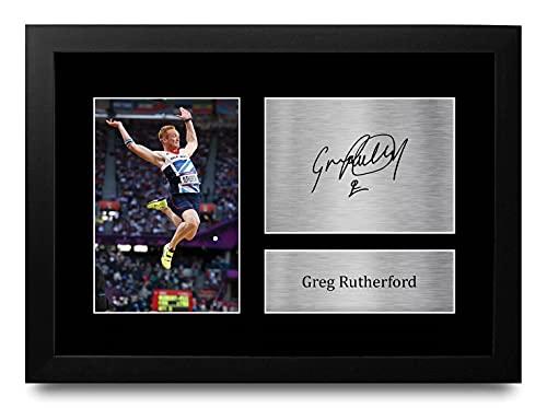 HWC Trading FR A4 Greg Rutherford Team GB Los Regalos Imprimieron La Imagen Firmada del Autógrafo para Los Fans De Los Recuerdos del Deporte del Atletismo - A4 Framed