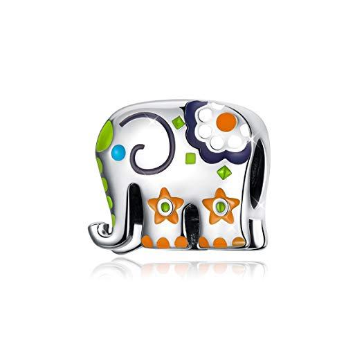Abalorio Elefante Plata Esmalte Colorido Tailandia Animal Beads Charms Compatible con Pulseras Pandora Collar