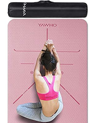 YAWHO Yoga Mat Fitness Mat Eco Friendly Material SGS Certified Ingredients TPE Specifications 72'' x 26'' Thickness 1/4-Inch Non-Slip Extra Large Yoga Mat with Carry Bag (Light Pink)