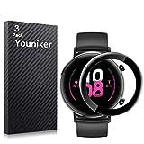 Youniker - Juego de 3 protectores de pantalla para Huawei Watch GT2 de 42 mm para Huawei Watch GT 2 42 mm Smartwatch Protectores de pantalla 3D de cobertura total, antiarañazos y sin burbujas