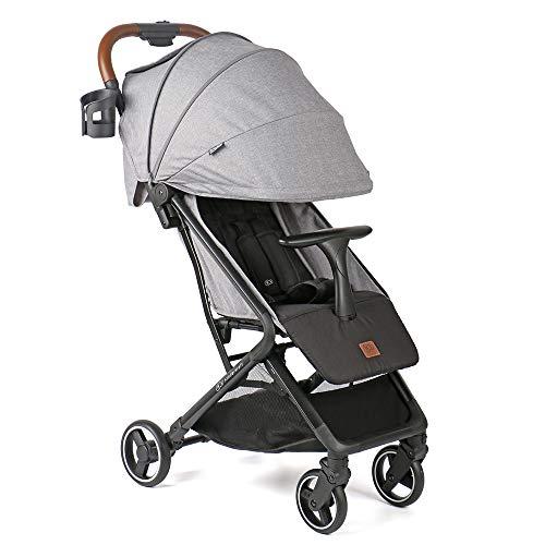 全欧で認められたベビーカー KinderKraft NUBI 折り畳みコンパクト 新生児 0か月~ [国内正規品/日本語取説/脚カバー/レインカバー/持ち運び用ストラップ/メーカー保証付] グレー