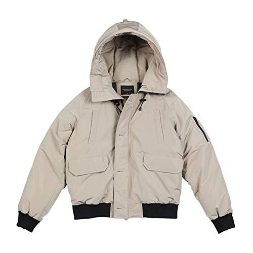 No brand Caldo Cappotto del Rivestimento degli Uomini di Inverno con Cappuccio A Breve Il 90% Anatra Grigia Giù Moda Aviator Coat (Color : Khaki, Size : XL)