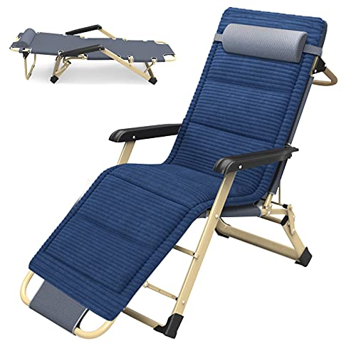 ABORON Chaise Lounge Chair with Ergonomic Design for Outdoor & Indoor, Full Flat Lounge Chair W/Removable Pad and Headrest, Folding Outdoor Patio Lounge Recliner,1 Year Warranty