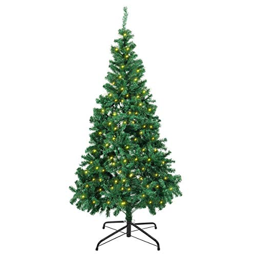 fake christmas trees Artificial Christmas Trees - 6Ft Xmas Detachable Tree with 850 Unique Pine Spruce Tips - Fake Christmas Tree with UL Certified DIY 300 LED Lights 12 Lighting Modes for Holiday Decoration