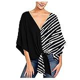 Kenmeko Camicie Donna Maglia Casual Shirt Elegante Basic Loose Top Pipistrello con Camicette Maniche Corte Scollo a V Floreale (XXL,Nero)