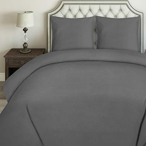 Utopia Bedding Housse de Couette avec Taies d'oreiller - Parure de Lit 2 Personnes avec Fermeture Éclair - Sets de Housse Couette en Microfibre (240x260cm + 2 x Taies Oreiller 65x65cm, Gris)