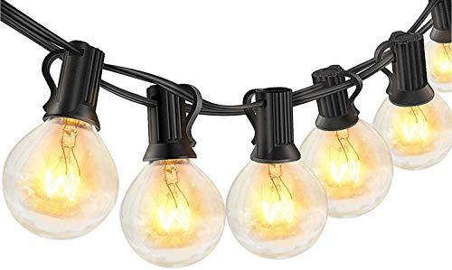Guirnaldas luminosas de exterior,LECLSTAR G40 Cadena de Luces 10m con 30+3(Bombilla de Repuesto) Vintage Edison Incandescentes IP44 Impermeable Perefcto para Fiesta,Boda,Jardín Patio Cafe