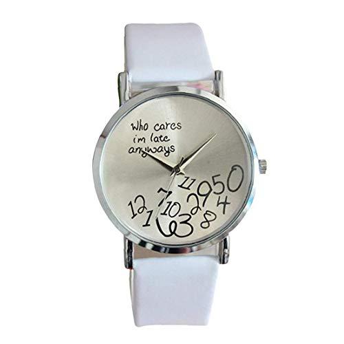 Hiinice Mujeres dial Redondo Reloj de Cuarzo analógico patrón de la Letra Ocasional Simple Reloj con Cuero de la PU Brazalete del Reloj de la batería incorporada (Blanco) Llevar Latido del corazón